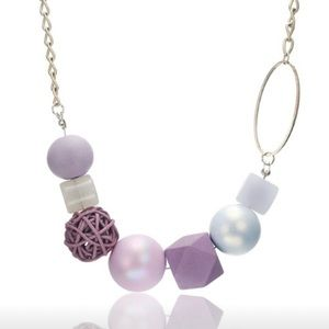 Geo Beaded Wooden Pearl Silver Necklace lavender